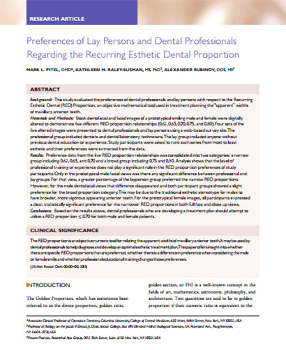 Preferences of Lay Persons and Dental Professionals Regarding the Recurring Esthetic Dental Proportion